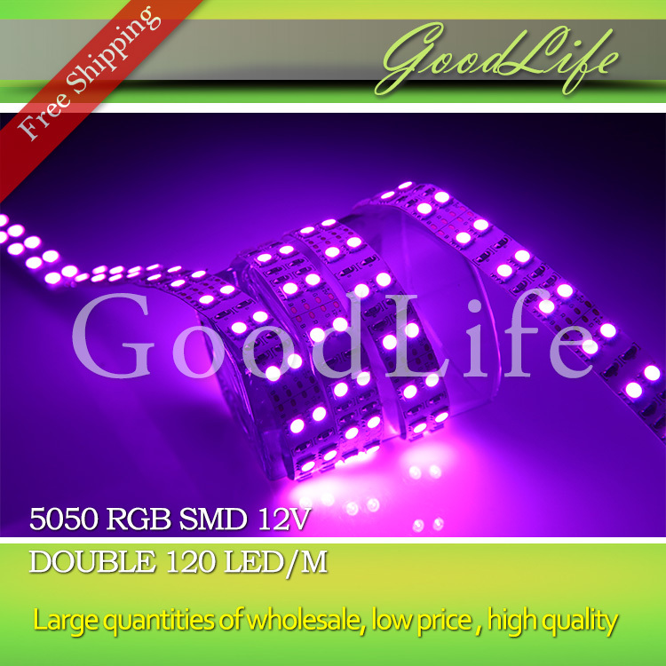 Double row LED Strip RGB ,Non-waterproof 5050 SMD 120leds/m 600LED/5m ,Free shipping(China (Mainland))