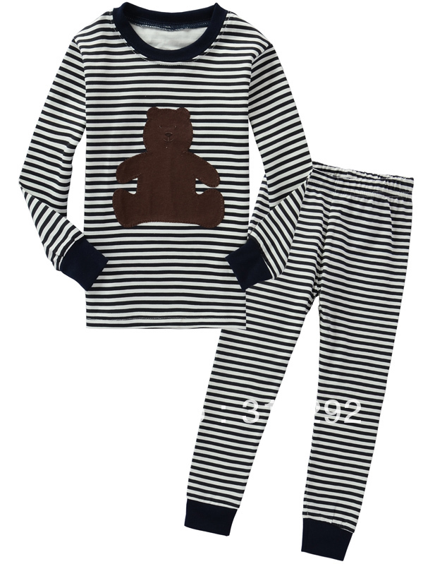 J-4028, Bear, Children clothing sets, Pajamas,Sleepwear, 100% Cotton Jersey long sleeve sets for 2-7 year.<br><br>Aliexpress