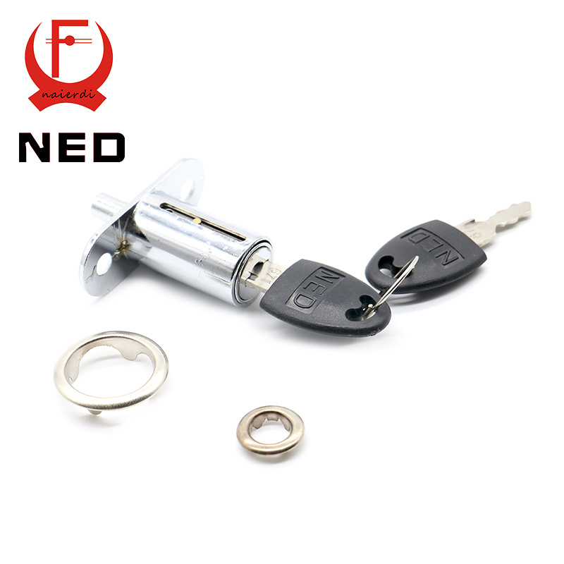 12PCS NED105-32 Plunger Lock Push Lock With 2 Key For Sliding Glass Door Showcase Lock Cabinet Lock 23mm Thickness Home Hardware(China (Mainland))