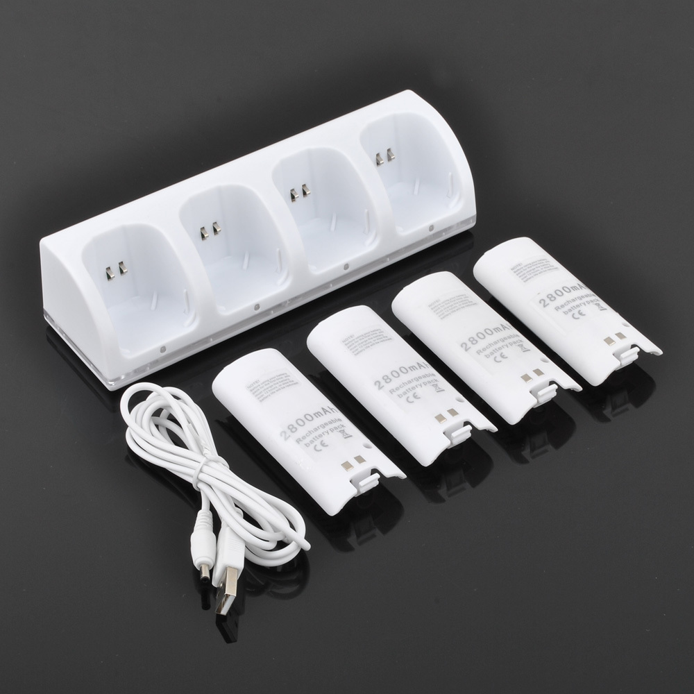New 4 x 2800mAh Batteries & Charger Dock Statioln For Nintendo Wii Remote Controller(China (Mainland))