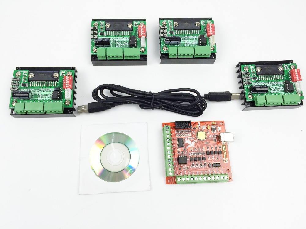 Cnc router mach3 usb 4 axis kit 4pcs tb6560 1 axis driver 4 axis stepper motor controller