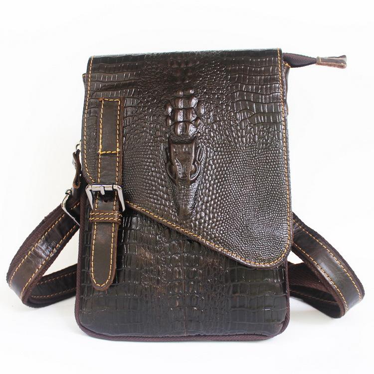 Genuine Leather men bag vintage men Messenger bags crossbody Bag coffer Fake Crocodile mobile bags men's travel handbag 2015(China (Mainland))