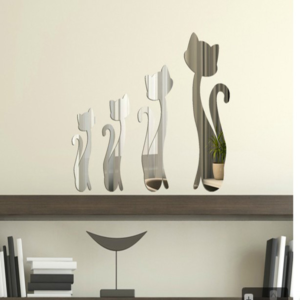 4Cats mirror wall stickers home decoration 3d relief tv sofa background - Yiwu International Trade Co., LTD store