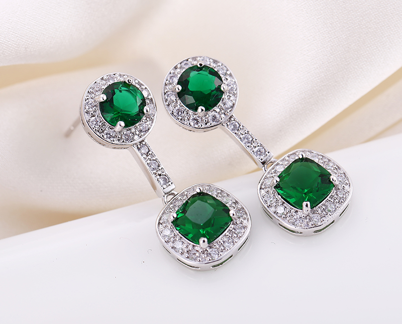 MOONSOUL top quality fashion jewelry square green CZ Diamond Stud Earrings For Women  Earring Jewelry best selling products<br><br>Aliexpress