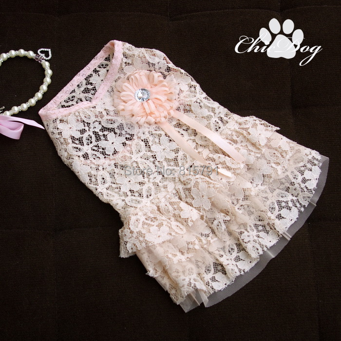 Free Shipping lace pet dog dress clothing for dogs wholesale cotton girl dog clothes pink for teddy poodle yorkie bulldog pug(China (Mainland))