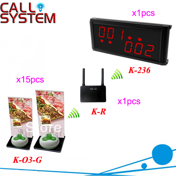 HOT!! Wireless Restaurant Paging System with LED display K-236, waterproof call button K-O3 and signal repeater K-R