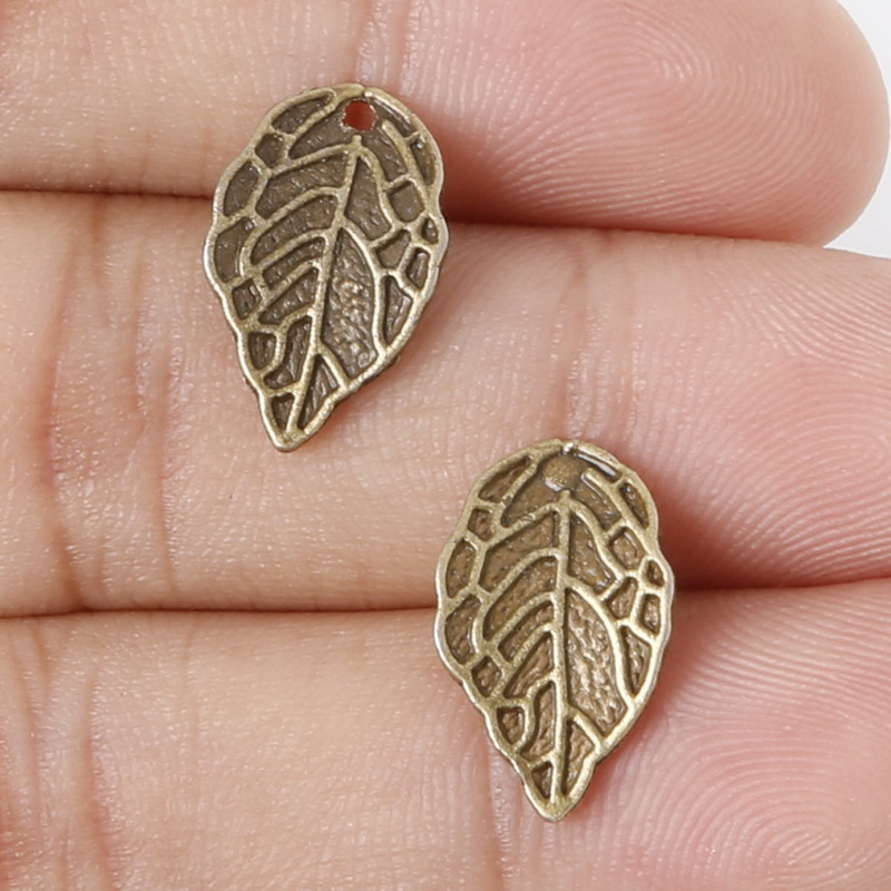 Penney Hot ! 14pcs 16x10mm Antique Bronze Metal Pendant Leaves Charms Jewelry Findings Accessories for DIY(China (Mainland))