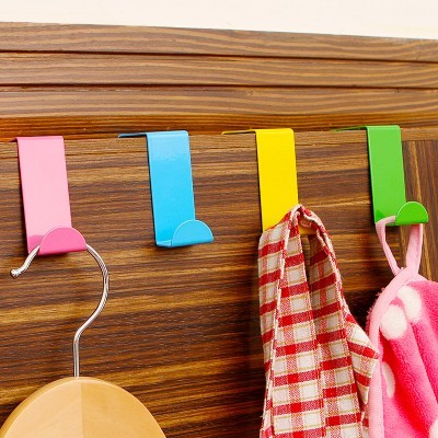 New Design 2pcs Stainless Over Door Hooks Kitchen Cabinet Clothes Hanger Draw Towel Clothes Pothook Can Carry Organizer Holder(China (Mainland))