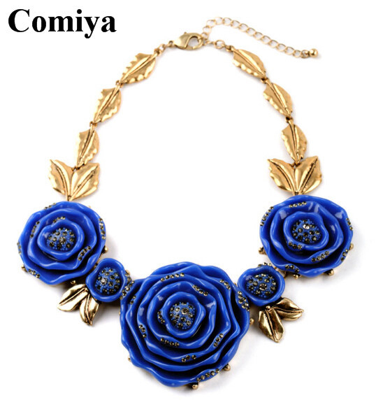 2015 New Arrival comiya brand Chunky Necklaces&Pendants Luxury Flower Statement Charm Necklaces Collares Mujer choker necklace(China (Mainland))