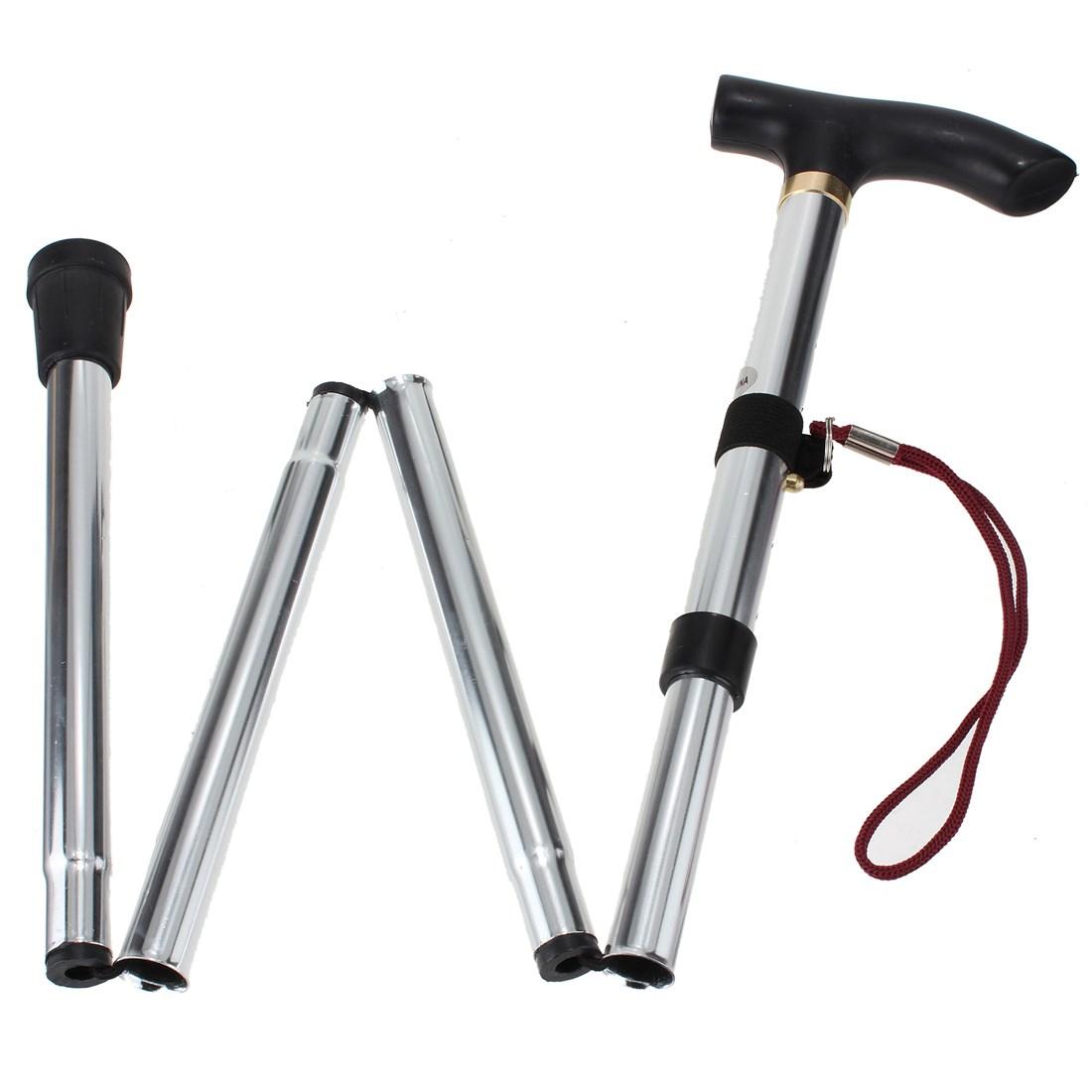 Hot Sale 4 Sections Foldable Adjustable Lightweight telescopic trekking poles Non-slip Cane Handle Hiking Walking Stick