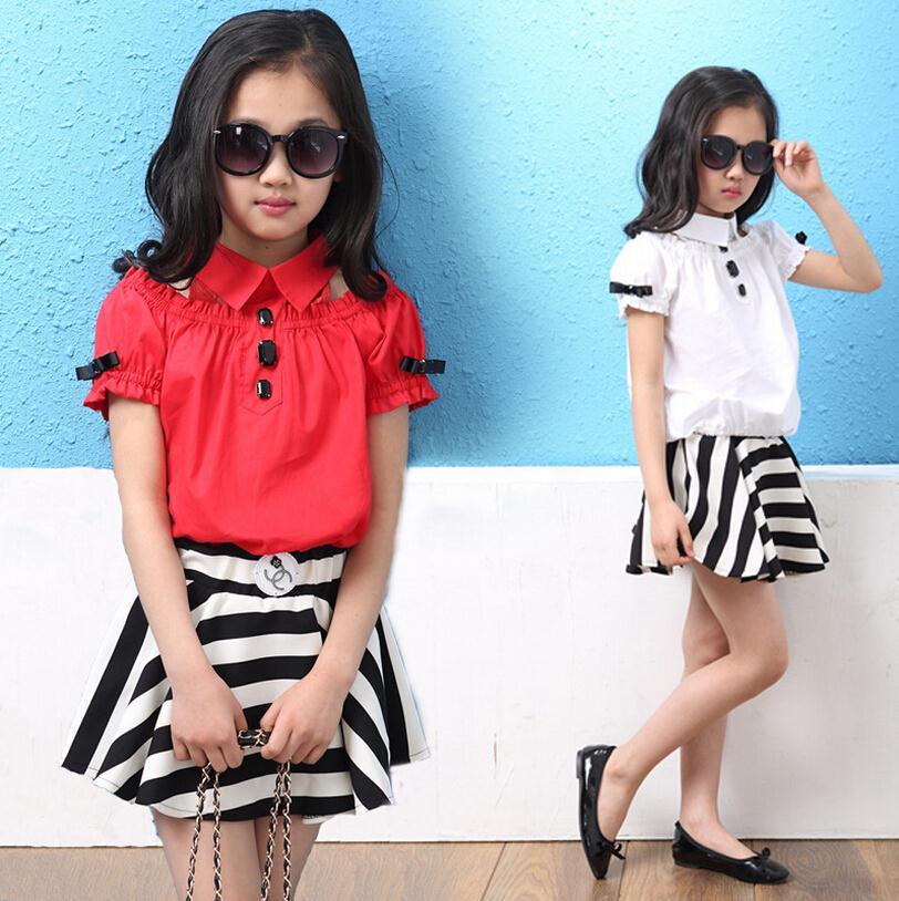 2015 Summer Girl Dress Set blusas Temperant listrado + saia 2 peças terno coreano roupas das meninas tamanho 12 roupa das crianças Set C15(China (Mainland))