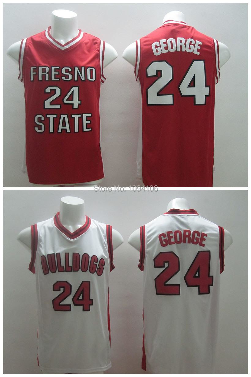 Fresno State Bulldogs #24 Paul George Jersey Red Rev 30 Stitched Men Ncaa Basketball Jersey Free Shipping Top Quality Wholesale(China (Mainland))
