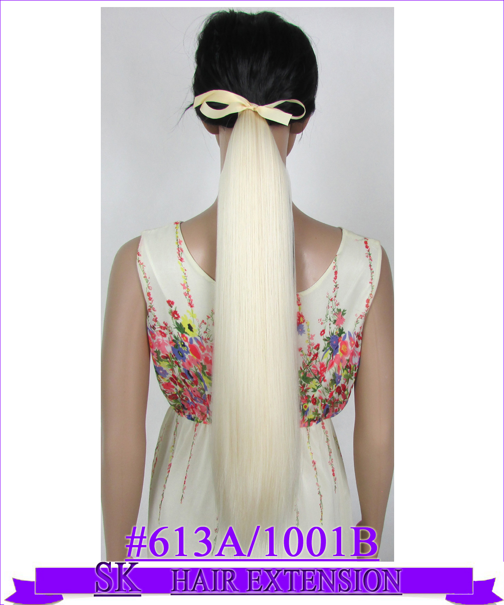 22 (55cm) 90g straight ribbon ponytail no shiny hot resistant fiber clip in hair extensions color #613A/1001B Mix Colors<br><br>Aliexpress