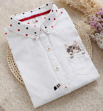Free Shipping High Quality Lovely Long Sleeve Cat Embroidery Turn-down Collar Woman Cotton Blouse White(China (Mainland))