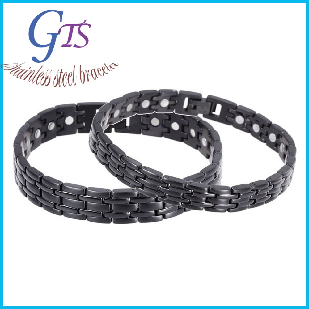 2015 Hot Sales Men's Bracelet Unique Stainless Steel Mens Black Plated Power Element Bracelet with Magnets Health Jewelry(China (Mainland))