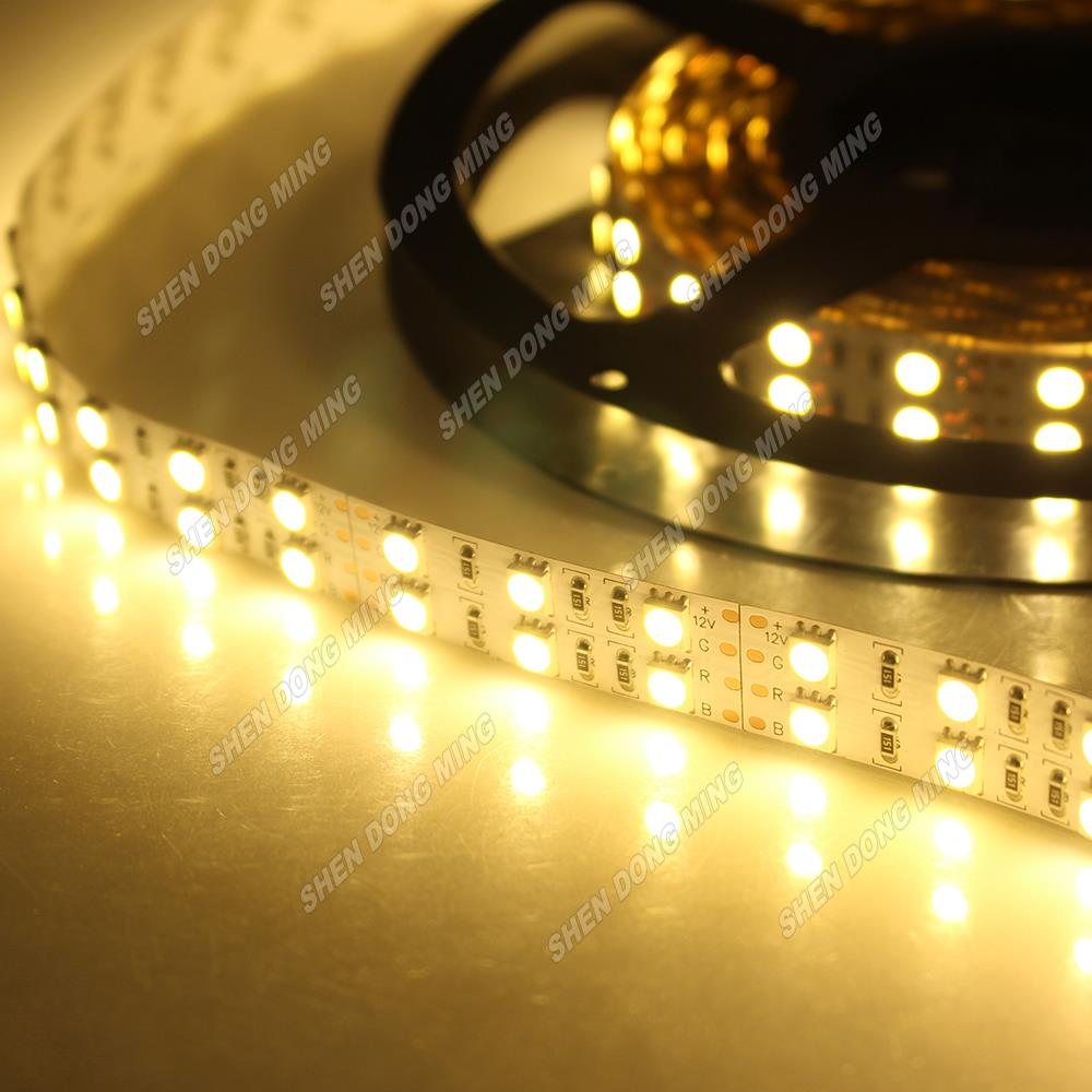 Double Row LED Strip RGB Cool/Warm White Non-waterproof IP22 LED Strip 5050 SMD 120Leds LED Light Rope Strip 5m/lot RoHS CE(China (Mainland))