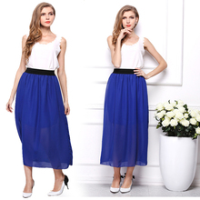 New arrivals Casual Spring Summer Women Maxi Skirt Candy Color High Waist Chiffon Beach Long Skirt Womens Chiffon Tulle Skirts