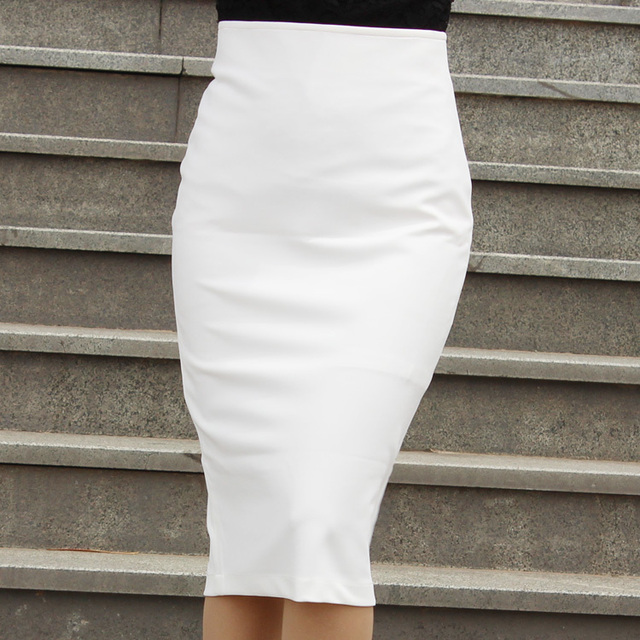 basic knit pencil skirt sleak stretch tight fitted below