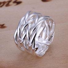 Бесплатная доставка R022 посеребренная кольца для женщин свадебные Ювелирные Изделия, сплетенные Кольцо-Открыт обручальные кольца anelli донна(China (Mainland))