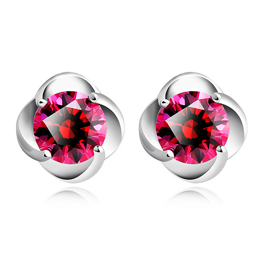 Ms. Clover fireworks Silver plated earrings new fashion lovely flower princess red Semi-precious Stone-end silver jewelry(China (Mainland))