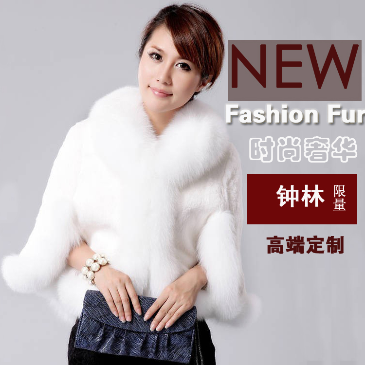 Fur coat 2014 women's cape outerwear rex rabbit hair short design cloak autumn and winter(China (Mainland))