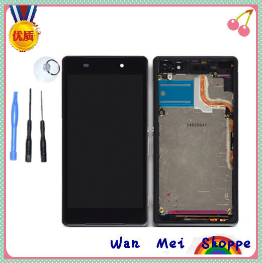 Black Glass LCD Display Touch Screen Digitizer Frame Assembly Replacement For Sony Xperia Z3 D6603 D6643 D6653 W Tools(China (Mainland))