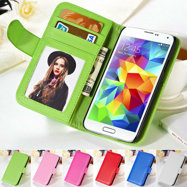 Fashion Stand Wallet Soft PU Leather Case Samsung Galaxy S5 Mini G800 Phone Bag Cover 2 Card Holder + 1 Photo Frame - Arvin Hoa's Store store