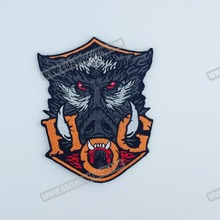 """100% Embroidery Quality Wild Boar Hog Embroidered Motorcycle Biker Club Patch Iron On Jacket Vest Patch 4.5"""" Free Shipping(China (Mainland))"""