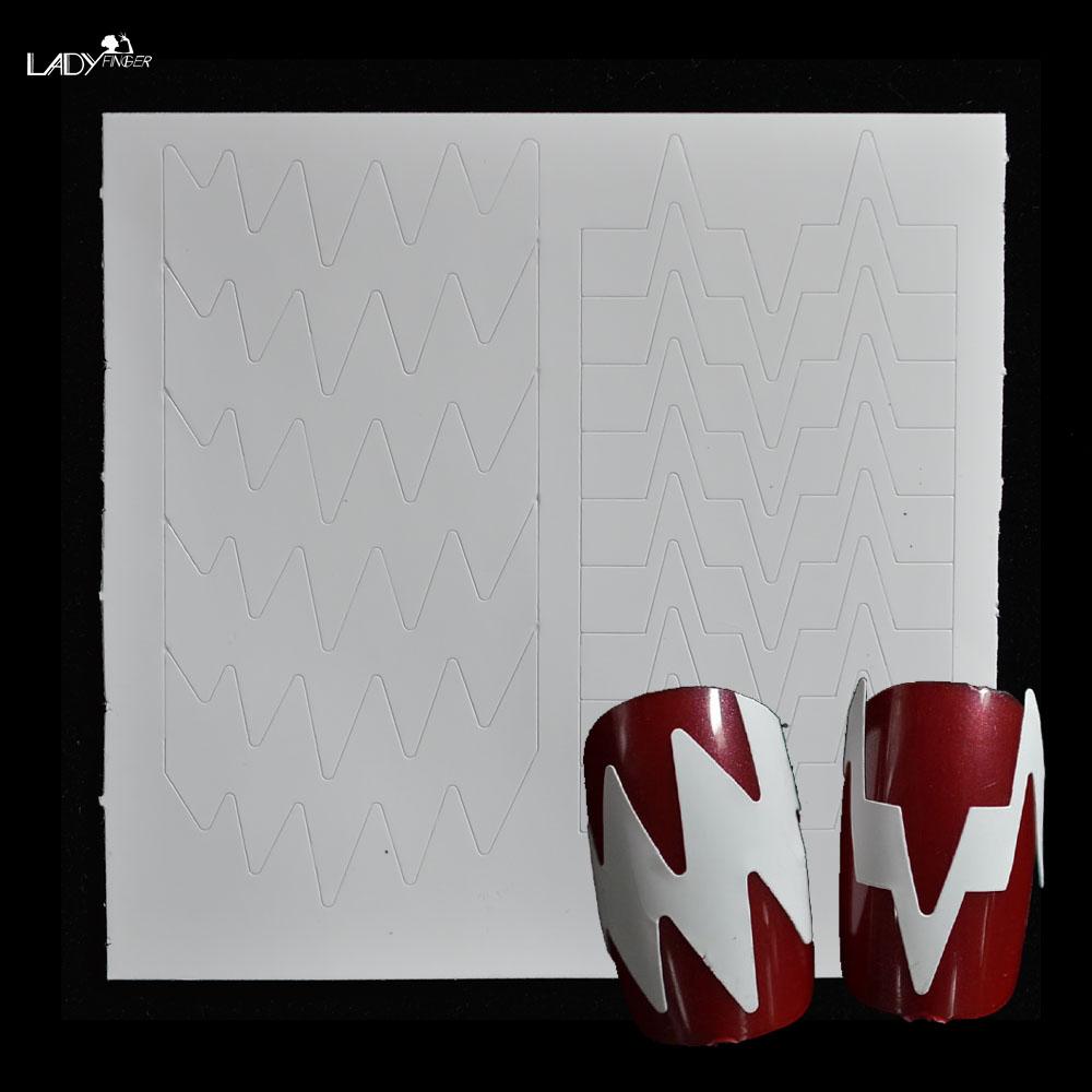 Lady Finger 1pcs Irregular Shape DIY French Manicure Nail Art Decorations Round Form Fringe Guides Nail Sticker Stencil FJ022(China (Mainland))