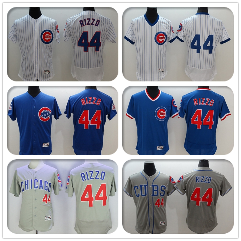 2016 New Fabric Mens Flexbase Version #44 Anthony Rizzo Jersey Color Gray Blue White Beige Heat-sealed Tagless Throwback Jerseys(China (Mainland))