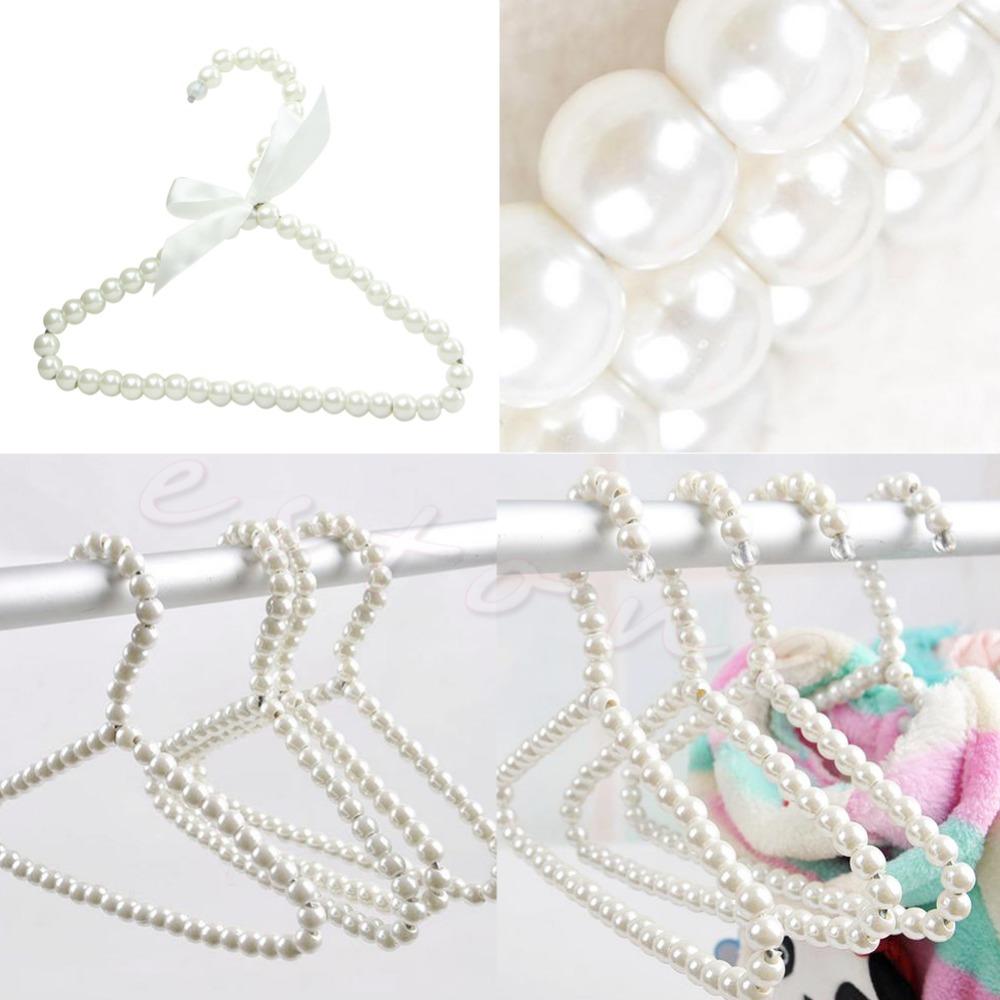 F85  3pcs Plastic Pearl Beaded Bow Clothes Dress Coat Hangers Weding For Kid Children