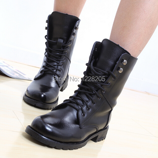 Simple Fashion Lace Up Combat Military Boots Faux Leather Womens Mid-Calf Boots Shoes