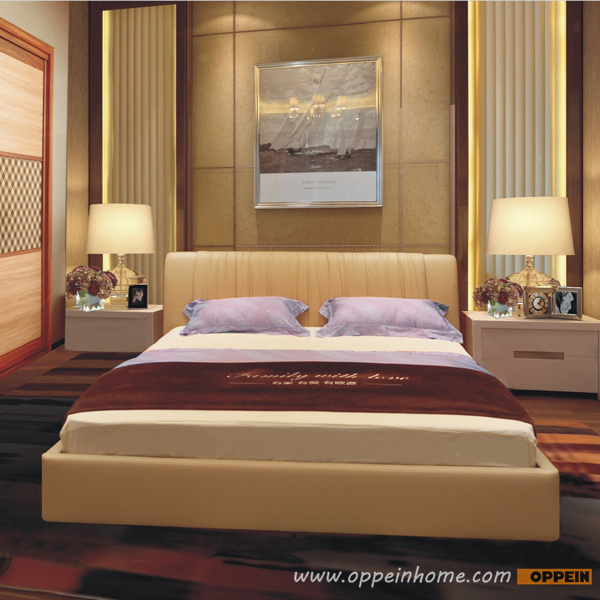OPPEIN Hot Sell Cherry Wood Bed / soft bed/double bed king/queen size bedroom home furniture hot sale style OP-SH676(China (Mainland))