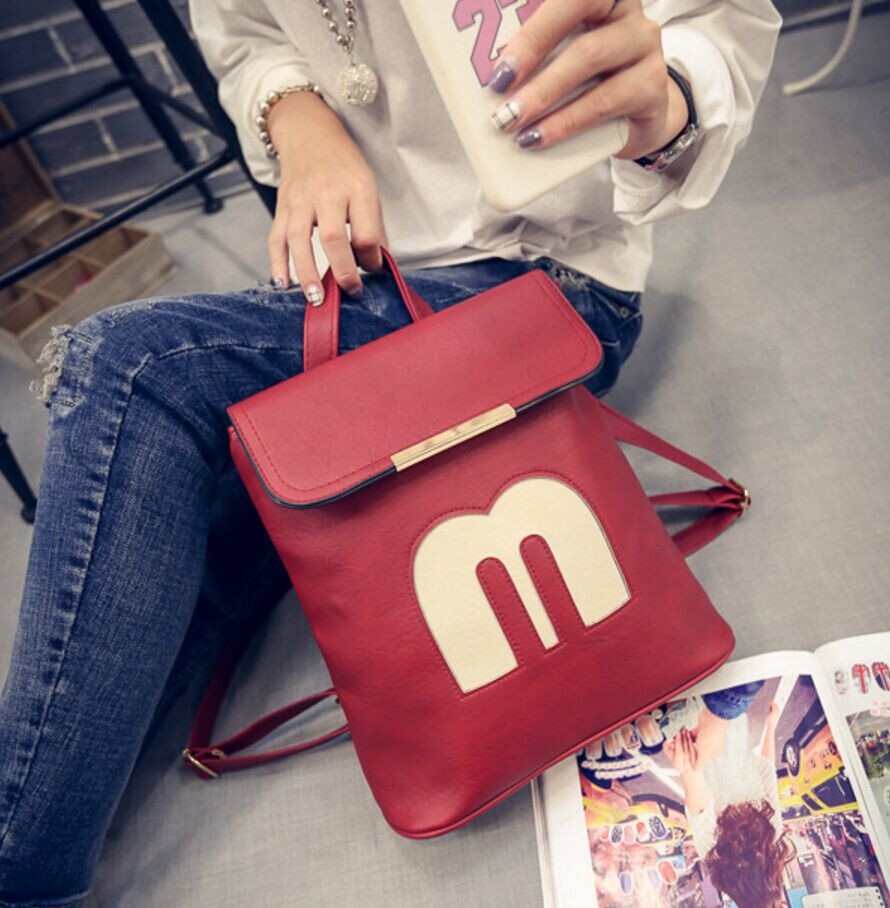 2016 Hot new Korean women bag  fashion personality cartoon letters backpack schoolbag travel bag wholesale free shipping<br><br>Aliexpress