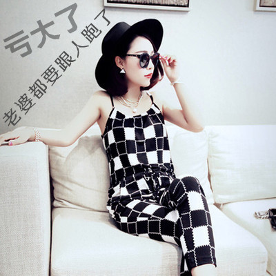 J30*2014 new Women Checks Slim Jumpsuits Rompers Suspender Cropped Trousers Plus Size Casual strapless summer Capris harem pants - Fashion Mall For Family store