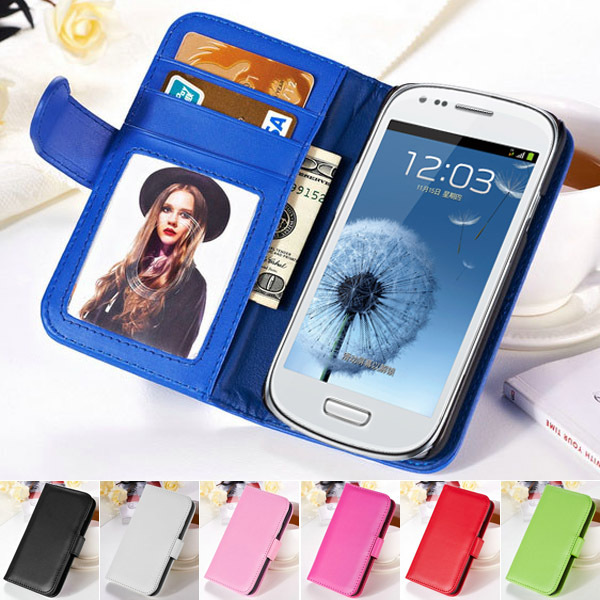 i8190 Photo Frame Flip Cover PU Leather Phone Bag Case For Samsung Galaxy S3 Mini i8190 Wallet Style Stand Design With Card Slot(China (Mainland))
