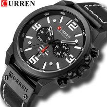 CURREN hommes montres haut de gamme marque de luxe étanche Sport montre-bracelet chronographe Quartz militaire en cuir véritable Relogio Masculino(China)