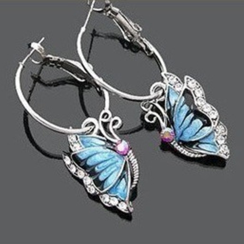 Vintage Butterfly Jewelry 2016 Fashion High Quality Summer Bridal Butterfly Water Drop Earrings For Women W1(China (Mainland))