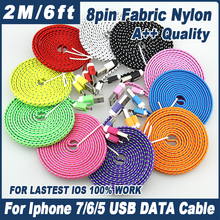 Buy 100pcs 2m/6FT Flat Noodle Nylon Fabric Braided 8 pin USB Charger Data Sync Cable Cord iPhone 7 6 plus 5 5s IOS 10 9 for $89.00 in AliExpress store