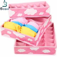 2016 Free Shipping Pink Various Grid Pattern Fashion Convenient Folding Storage Box Bag for Bra Underwear Necktie Sock Organizer(China (Mainland))