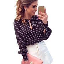 Women Casual Round Neck Long Sleeve Blouses Summer Chiffon Polka Dots Shirt Tops TQ