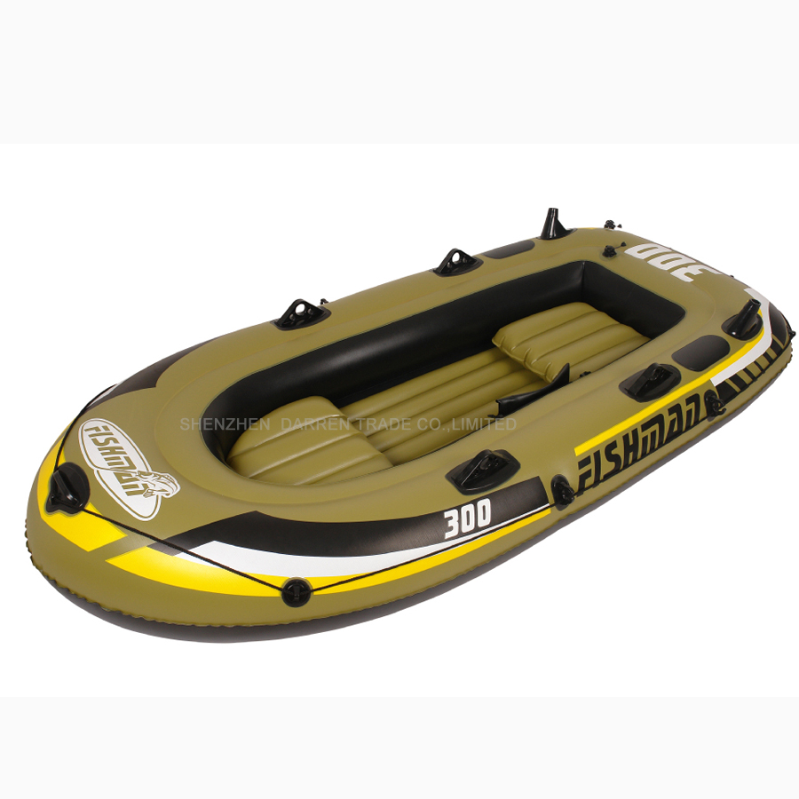 Free by DHL 2 adult+1 child inflatable fishing boat PVC Rowing Boats carry weight include two seat+a pair of oars+hand pump PVC(China (Mainland))