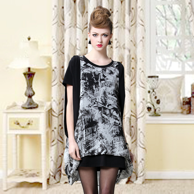 2015 European American Summer new fashion women's round neck knit floral chiffon blouse top loose casual dress black white - Fair Lady Fashion Collections Store store