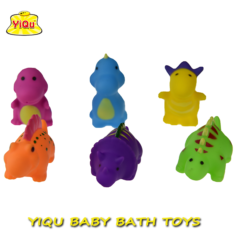 6pcs/lot Bath Rubber dinosaur toys Water-Spray toys for kids Soft vinyl toys for Boys Girls Rubber Shower Toy(China (Mainland))