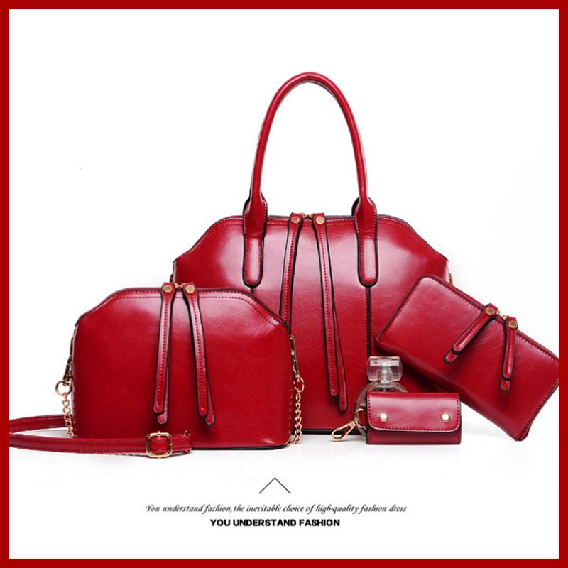 Hot!!! New Wax oiled Genuine leather Bag Women Handbag Shoulder Crossbody Desigual Bag Handbag+Messenger Bag+Purse+Wallet 4 Sets(China (Mainland))