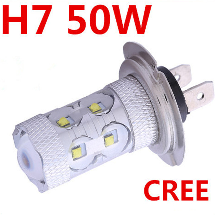 Free Shipping Led H7 50W Fog Light Led Car Light Lamp White Motorcycle Cree Xenon H7 Halogen Led Auto Parking For ford focus 2(China (Mainland))
