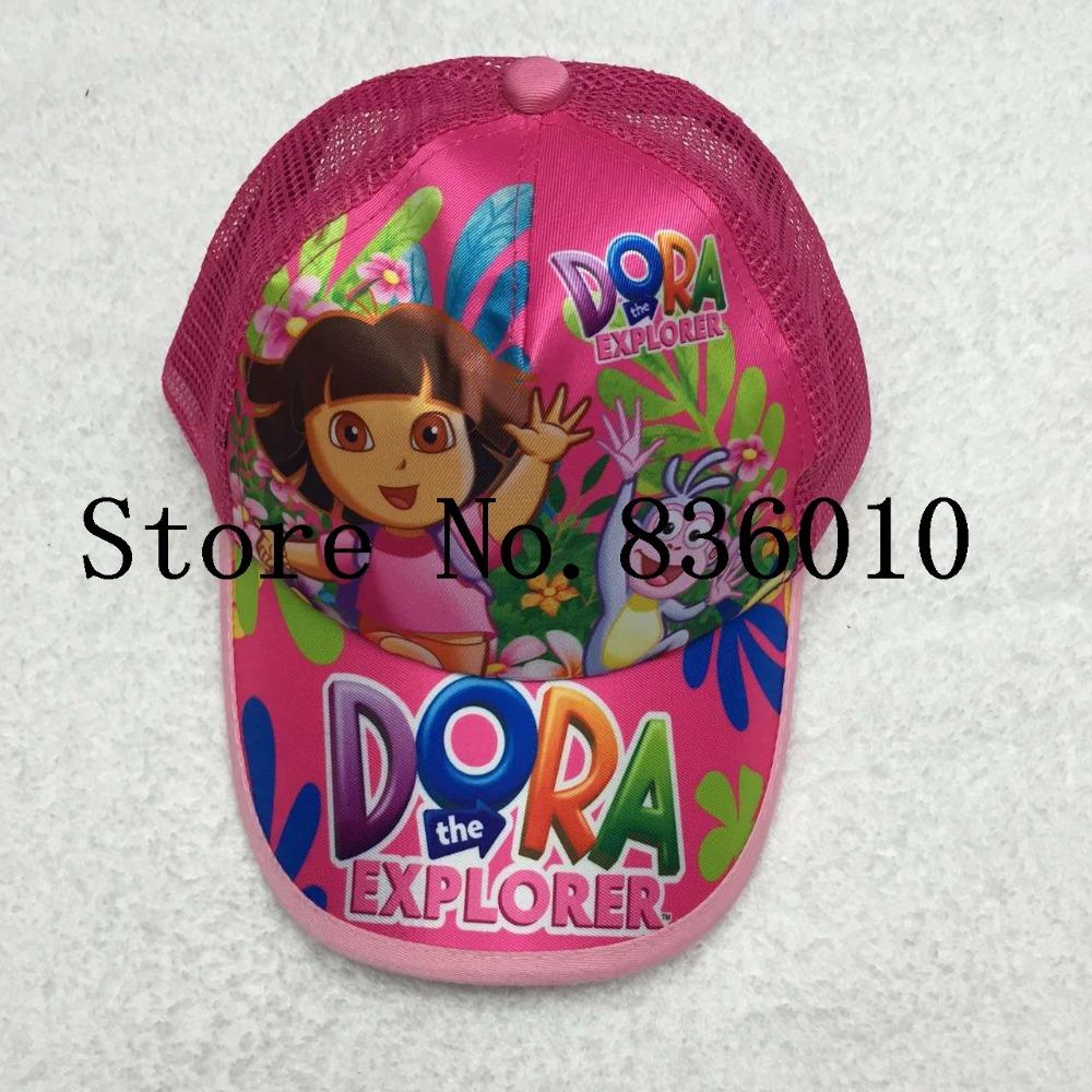 Hot Sale 5pcs Cartoon Dora Cotton Baseball Caps Adjustable Mesh Hat Children's Toys For Girls Boys Children TW-34(China (Mainland))