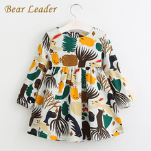 Bear Leader Girls Dress 2017 New Autumn England Style Girls Clothes Long Sleeve Cartoon Forest Animals Graffiti for Kids Dresses(China (Mainland))