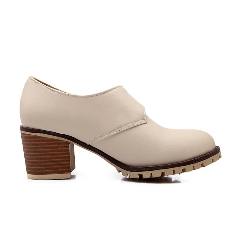 ซื้อ พลัสSize34-43 2016ใหม่ฤดูใบไม้ผลิรองเท้าเดียวสีดำข้อเท้าบู๊ทส์แพลตฟอร์มส้นสูงปั๊มหัวเข็มขัดเลดี้สำนักงานปั๊มPS1360
