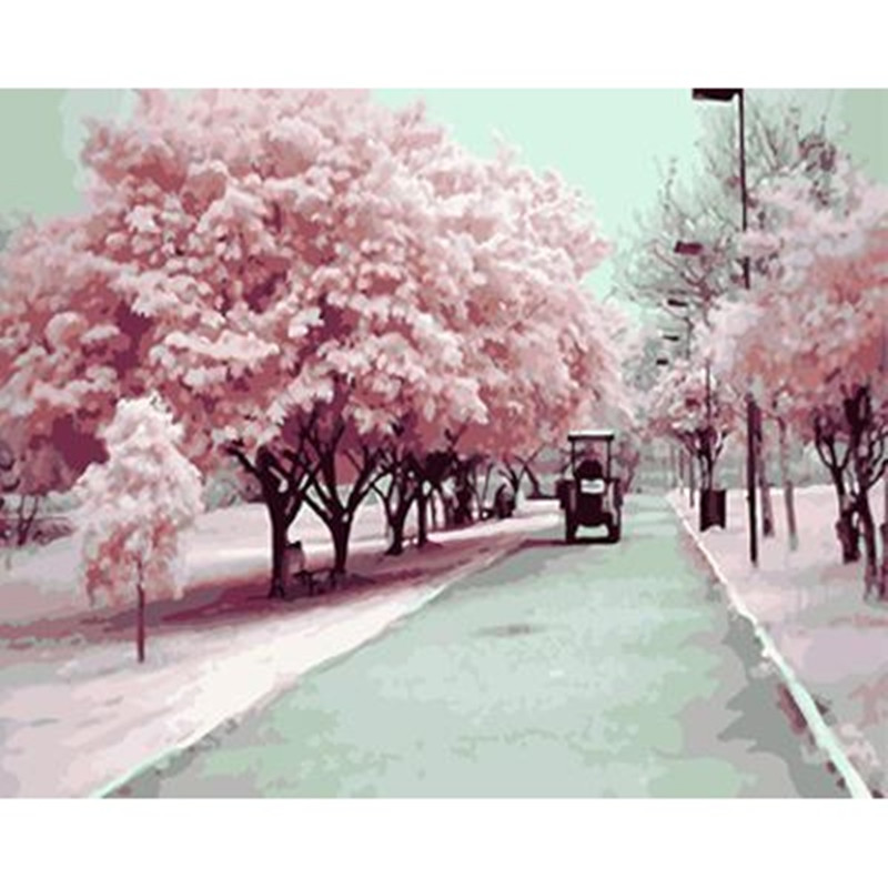 diy digital painting on canvas with frame hand paint by yourself painting acrylic paint by numbers 40X50cm Cherry blossoms G404(China (Mainland))